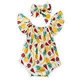 Miwear 0-24M Newborn Baby Girls Ruffle Sleeve Fruit Print Jumpsuit Romper with Headband Summer Outfits Set (Multicoloured, 12-18 Months)