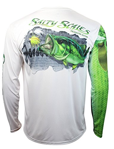 Salty Scales Largemouth Bass Long Sleeve Fishing Shirt for Men, Dri-Fit Performance Clothing (Large) White