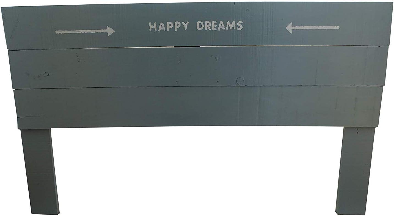 Cabecero/Cabezal de Cama & Somier de 135 - Cabezal de Camas en Color Gris (Gris - Happy Dreams, 135x4x110)