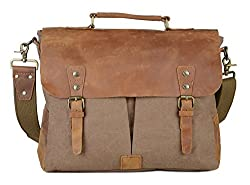 Gootium Canvas Leather Messenger Bag Vintage Briefcase 15 6 Laptop Shoulder Bag Coffee