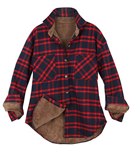- ililily Women Plaid Buffalo Checkered Sherpa Lined Flannel Shirt Trucker Jacket , Red Navy Plaid,Medium