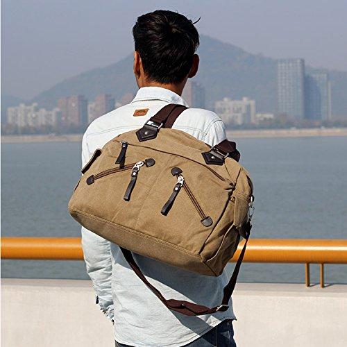 Outreo Bolsa Hombre Bolsas de Viaje Bolso Bandolera Messenger Bag para Laptop Escolares Colegio Libro Bolsos de Tela Vintage Bolsos Originales Negro