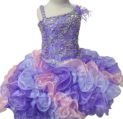 Y&C Girls' Baby Beads Infant Short Cupcake Toddler Pageant Dresses 1M Purple