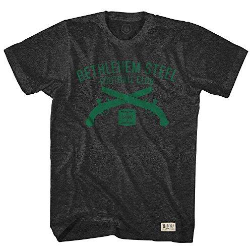 fan products of Bethlehem Steel Soccer Club Pistols T-shirt, Black, 2X Large