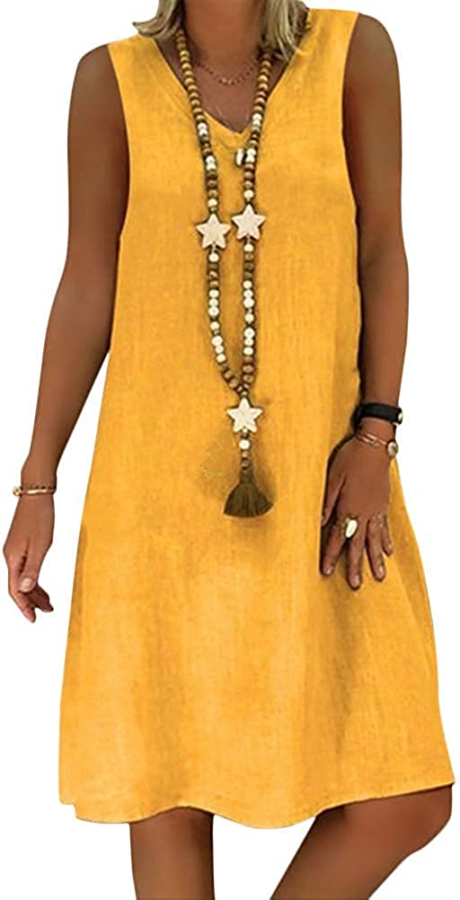 Yidarton Robe /Ét/é Femme de Plage R/étro Robes Col V Lin Robes au Genou Manches Courte Unie Casual Tuniques Ample sans Accessoires