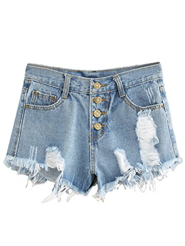 MakeMeChic Women's Frayed Raw Hem Ripped Distressed Denim Shorts 6-Blue (Button Fly Denim Shorts)
