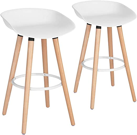 Amazon Com Morden White Pp Plastic Bar Stool Height Barstools Dining Kitchen Bar Stools Chairs With Wooden Legs Set Of 2 For Coffee Shop Home Bar Club Pub Home Balcony Furniture Decor