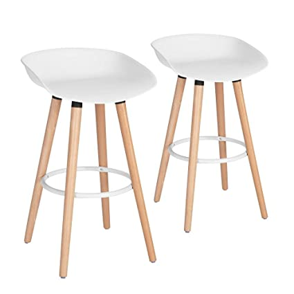 Outstanding Furniturer Bar Chair Pub Bar Height Barstool Modern Industrial Dining Bar Stool Chairs With Pp Seat Backrest And Wooden Leg Set Of 2 For Coffee Shop Caraccident5 Cool Chair Designs And Ideas Caraccident5Info
