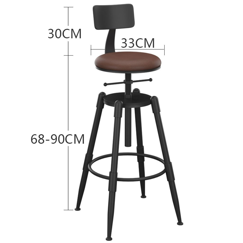 Leather Edge to High stool Retro Minimalist Bar Stool Wrought Iron High Stool Solid Wood Bar Stool Round redating Lift Modern Bar Chair With Backrest (color   Leather)