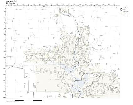 Amazon.com: ZIP Code Wall Map of Wausau, WI ZIP Code Map Not