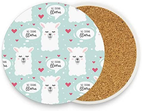 Cute Llama Alapca Drink Coasters Mats - Moisture Absorbing Stone Coasters with Cork Base, Prevent Furniture from Dirty and Scratched, Stone Coasters set Suitable for Kinds of Mugs and Cups