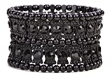YACQ Jewelry Multilayer Crystal Stretch Sleeve Cuff Bracelet for Women Gold Silver Black Color 2 Row