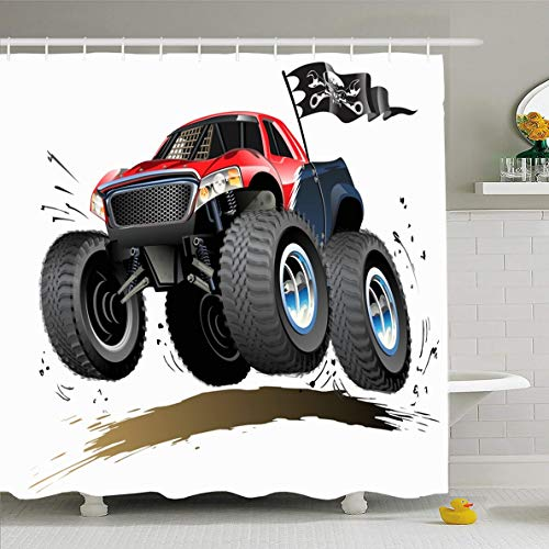 Ahawoso Shower Curtain 72x78 Inches Muscle Hot Monster Truck Available Car Offroad Race Wheel Show Jump Off 4X4 Waterproof Polyester Fabric Set with Hooks