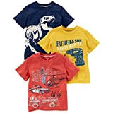 Carter's Big Boys' 3-Pack Short-Sleeve Graphic Tee, Dino/Construction/Rescue, 4