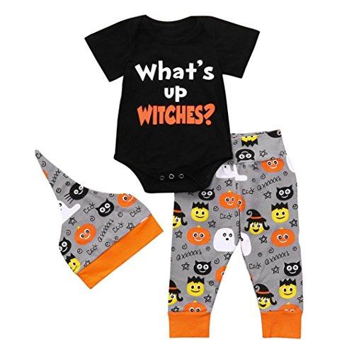 Newborn Summer Sets,Jchen(TM) Hot Sales! Infant Baby Girls Boys Letter Print Romper Jumpsuit Halloween Pants Hat Outfits for 0-24 Months (Age: 0-6 Months) -