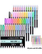 96 Pack Gel Pens for Adult Coloring Book 48 Unique Gel Pen Plus 48 Refills for Adult Coloring Books Drawing