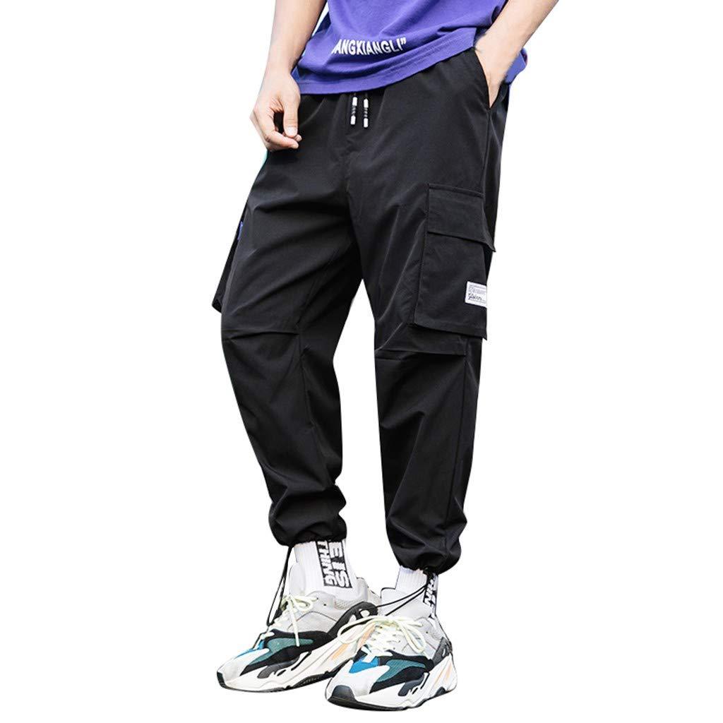 Men's Hip hop Pant, Imakcc Big & Tall Pants Pocket Plus Size Trousers Jogger Pants(M, Black) by Imakcc-Sports pants