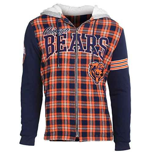 NFL Chicago Bears Men's Flannel Hooded Jacket, Large