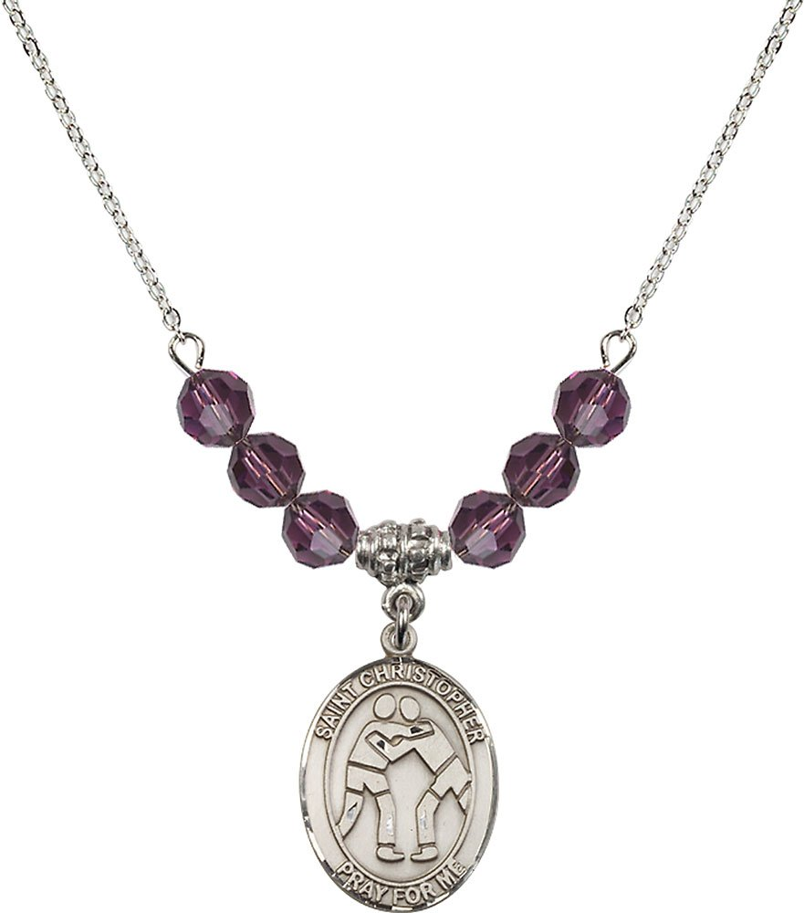 Rhodium Plated Necklace with 6mm Amethyst Birthstone Beads & Saint Christopher/Wrestling Charm. by F A Dumont
