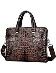 Badiya Crocodile Pattern Leather Briefcase Laptop Handbag Messenger Bags for Men