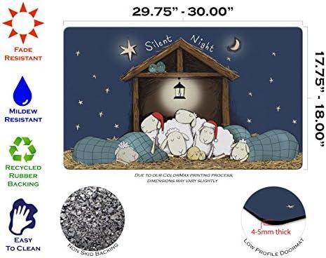 Toland Home Garden Silent Night 18 x 30 Inch Decorative Christmas Floor Mat Sheep Nativity Doormat