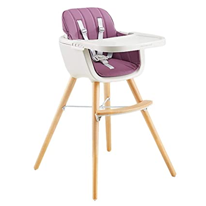 ab2c606e7530 Amazon.com: LXLA - Wooden High Chair for Babies and Toddlers - with Harness,  Removable Tray, and Adjustable Legs (Color : Purple): Home & Kitchen