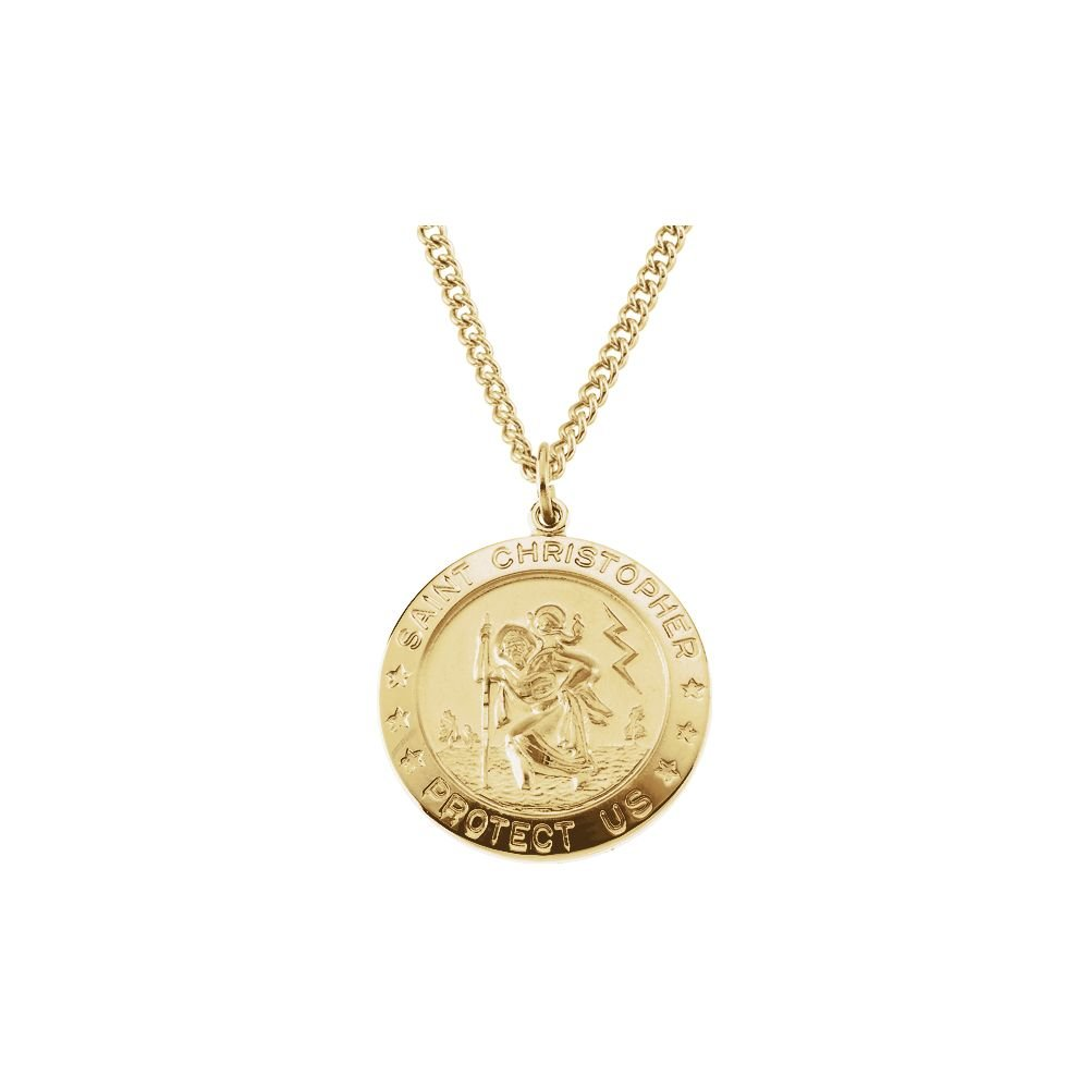 Christopher Medal With 24 Inch Chain Jewels By Lux 14K Yellow Gold Filled 25 mm Polished St