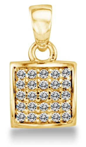 Solid 14K Yellow Gold 7mm Rounded Square Micro Pave Set CZ Cubic Zirconia Pendant Charm (0.3