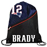 FOCO New England Patriots Official High End Diagonal Zipper Drawstring Backpack Gym Bag - Tom Brady #12