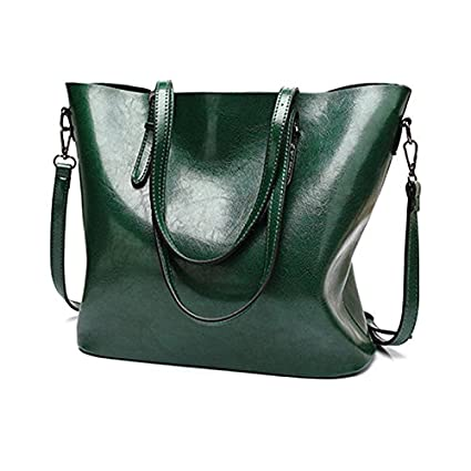 403d80e01e6a5 Amazon.com: 2018 New Fashion Women Pu Leather Handbags Lady Large Tote Bag  Female Shoulder Bags (Green Color): Everything Else