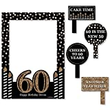 Big Dot of Happiness Custom Adult 60th Birthday - Gold - Personalized Birthday Party Selfie Photo Booth Picture Frame & Props - Printed on Sturdy Material