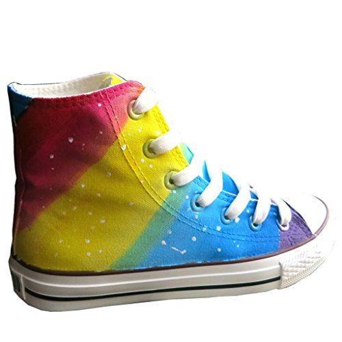 YFINE Rainbow Style Adult Hand-painted Unisex Canvas Shoes High Top Mens and Womens Walking Shoe Photo Color i6hZhsHDP2