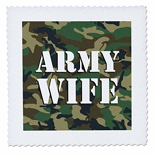 3dRose qs_24633_1 Army Wife Green Camouflage Quilt Square, 10 by 10-Inch ()