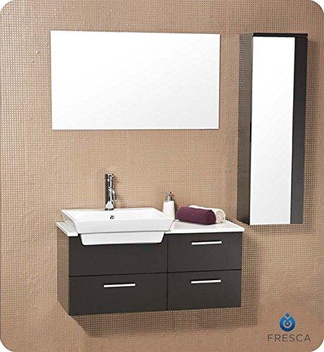 Fresca Bath FVN6163ES Caro Vanity with Mirrored Side Cabinet, Espresso - Contemporary Bath Vanity Sink Wood