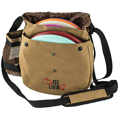 Disc Living Disc Golf Bag | Frisbee Golf Bag | Lightweight Fits Up to 10 Discs | Belt Strap | Adjustable Shoulder Strap Padding | Double Front Button Design | Bottle Holder | Durable Canvas (Brown)