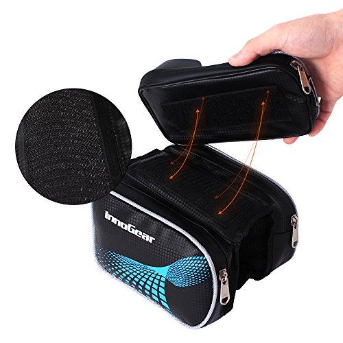 InnoGear Wasserdicht Fahrradtasche mit 2 Fäche Fahrrad Rahmentaschen für die Handys über 5.5 '' Abnehmbar Vorne Rahmentasche Befestigung am Obenrohr Rennrad für Mountainbike Fahrradzubehör