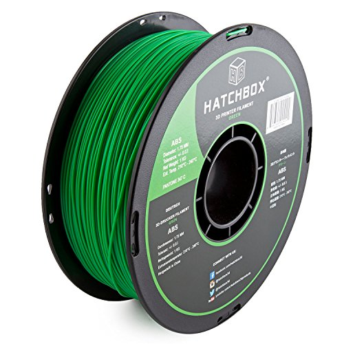 HATCHBOX ABS 3D Printer Filament, Dimensional Accuracy +/- 0.05 mm, 1 kg Spool, 1.75 mm, Green