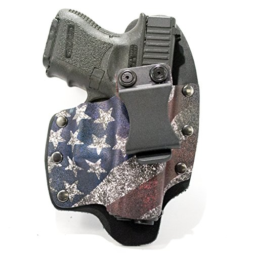 Infused Kydex USA Slanted Flag IWB Hybrid Concealed Carry Holster (Right-Hand, Glock 43 with TLR6 Laser) (Best Laser For Glock 43)
