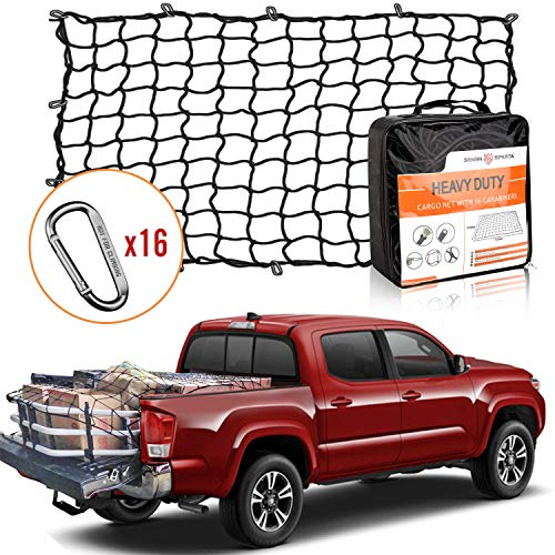 5' x 7' Bungee Cargo Net Stretches to 10' x 14' for Truck Bed, Pickup Bed, Trailer, Trunk, SUV with 16 Bonus D Clip Carabiners Universal Heavy Duty Car Rear Organizer Net (Cover Net Truck Bed)
