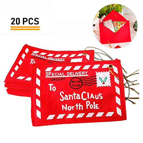 Gizhome 20 Piece Christmas Letter Envelope to Santa Claus Xmas Candy Gift Bag Money Card Gift Holders Tree Ornament Embroidery(Red)