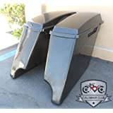 """Extended Saddlebags with Lids: Hard ABS Unpainted Plastic 4"""" Stretched Saddlebags for Harley-Davidson 1994-2013"""