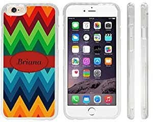 Briana Name on Fall Colors Chunky Chevron Design iPhone 6 Case Cover (Clear Rubber with front bumper protection) for Apple iPhone 6 sell on Zeng case