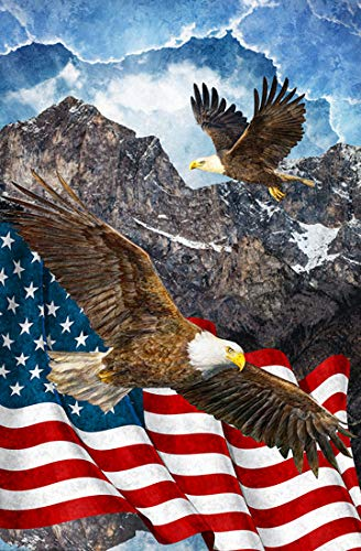 Northcott Stars & Stripes Eagle in The Mountains Cotton Fabric Panel 28 X 44 Inches (By Panel The Fabric)