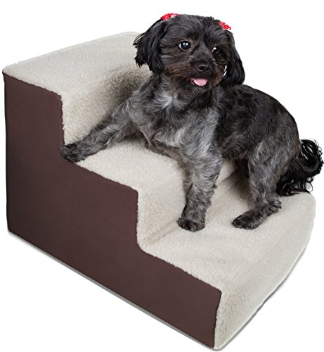 OxGord-Dog-Stairs-to-get-on-High-Bed-for-Cat-and-Pet-Steps-at-Home-or-Portable-Travel-Up-to-200-lbs-Brown