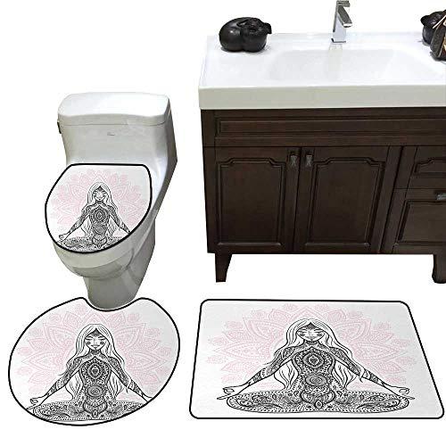 John Taylor Chakra Bath Rug Set Ornate Girl Figure on Lotus Flower with Eastern Symbols on Body Mind Calming Concept Toilet Floor mat Set Black Pink ()