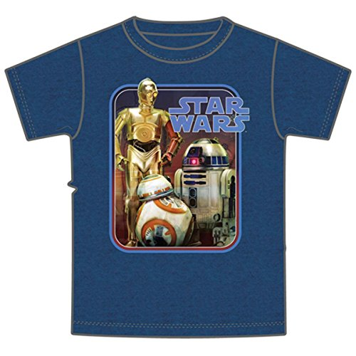 Star Wars Droids R2D2 C3PO BB-8 Youth T-Shirt, Heather Blue, Small (6/7)