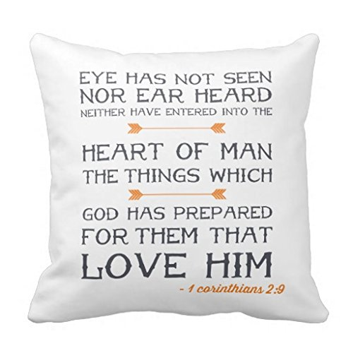 Price comparison product image Home Decor Pillow Cover 1 Corinthians 29 Bible Verse Pillow Case for 18x18 inches