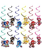 Sonic The Hedgehog Birthday Party Supplies Decorations,36PCS Sonic The Hedgehog Character Hanging Swirl Decorations