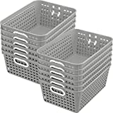 Really Good Stuff Multi-Purpose Plastic Storage Baskets for Classroom or Home Use – Stackable Mesh Plastic Baskets with Grip Handles 13'' x 10'' (Single-Color Set of 12)