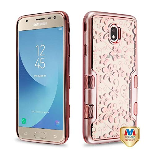 Metallic Rose Gold/Electroplating Rose Gold Hibiscus Flower (Transparent Clear) TUFF Panoview Hybrid Protector Cover (with Package) for SAMSUNG J737P (Galaxy J7 (2018)) SAMSUNG J7 Refine SAMSUNG Galax
